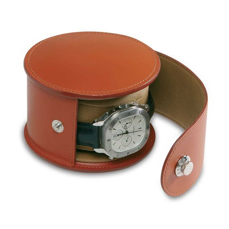 Brown Round Travel Leather Watch Box With Pollow Beig Velvet Inside Portablre